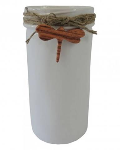 Keramická váza vk39 bílá s vážkou