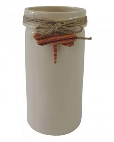 Keramická váza vk40 béžová s vážkou