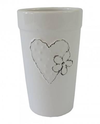 Keramická váza vk43 bílá se srdíčkem a kytičkou