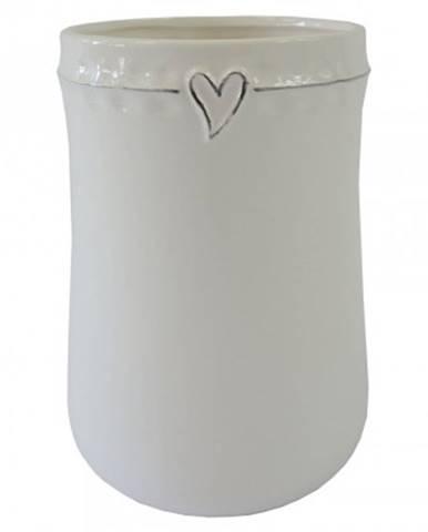 Keramická váza vk44 bílá se srdíčkem