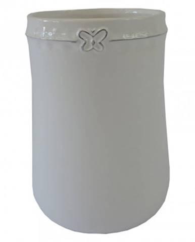Keramická váza vk51 bílá s motýlkem