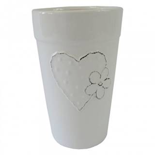Keramická váza vk42 bílá se srdíčkem a kytičkou