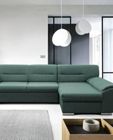 Rohová sedačka rozkládací fortino pravý roh úp zelená