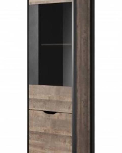 Meble Laski Vitrína vitrína laura vysoká, 2 dveře s led osvětlením