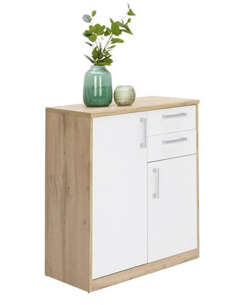 Xora Xora KOMODA, bílá, barvy dubu, 72/84/36 cm - bílá, barvy dubu