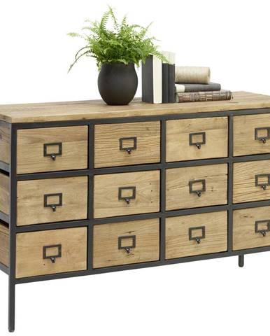 Ambia Home KOMODA, recyklované dřevo, jilm, přírodní barvy, černá, 127/80/42 cm - přírodní barvy, černá