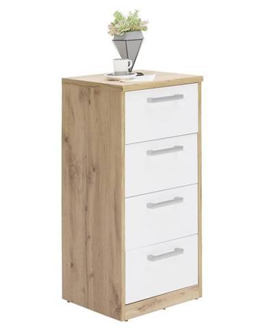 Xora KOMODA, bílá, barvy dubu, 38/84/36 cm - bílá, barvy dubu