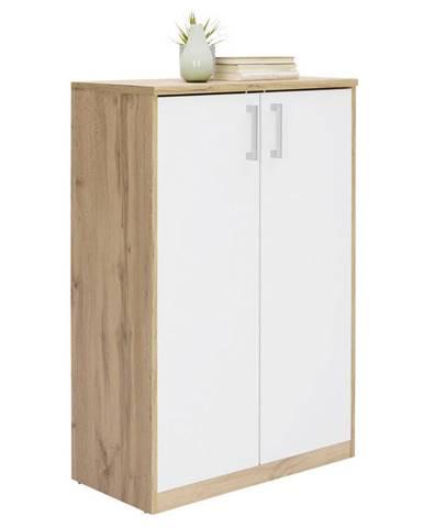 Xora KOMODA, bílá, barvy dubu, 72/110/36 cm - bílá, barvy dubu