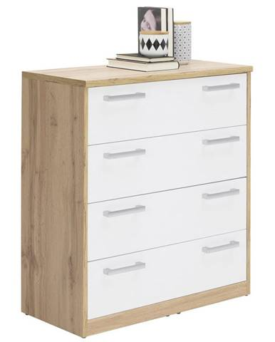 Xora KOMODA, bílá, barvy dubu, 72/84/36 cm - bílá, barvy dubu