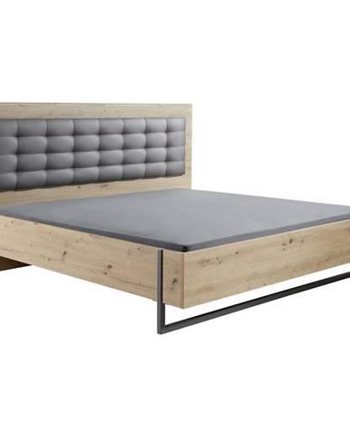 Hom`in POSTEL, 180/200 cm, textil, kompozitní dřevo, šedá, barvy dubu - šedá, barvy dubu
