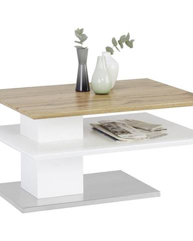 Novel KONFERENČNÍ STOLEK, bílá, barvy dubu, barvy nerez oceli, kov, kompozitní dřevo, 80/60/40 cm - bílá, barvy dubu, barvy nerez oceli