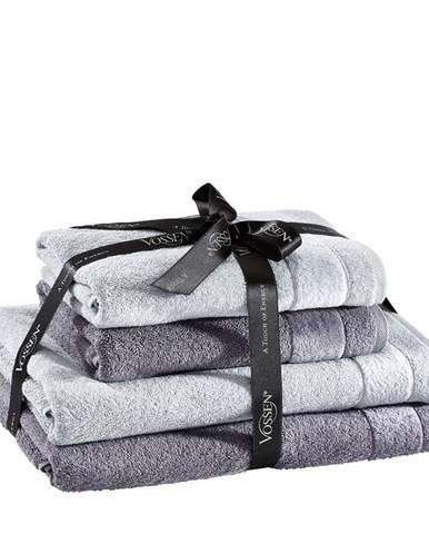 Vossen SADA RUČNÍKŮ A OSUŠEK, barvy stříbra, tmavě šedá - barvy stříbra, tmavě šedá