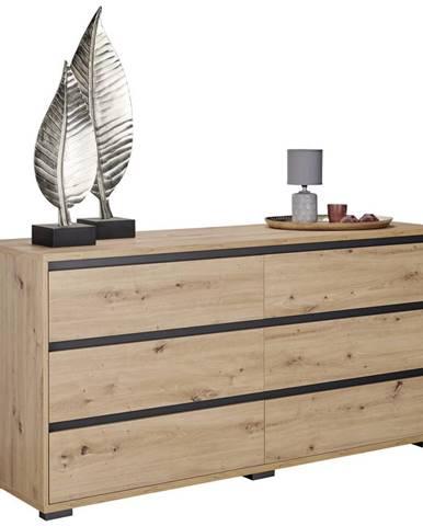 Carryhome KOMODA, antracitová, barvy dubu, 160/79/48 cm - antracitová, barvy dubu