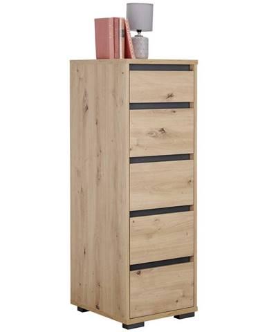 Carryhome KOMODA, antracitová, barvy dubu, 40/120/48 cm - antracitová, barvy dubu