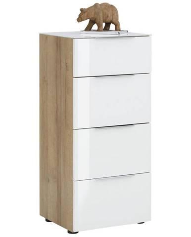 Novel KOMODA, bílá, barvy dubu, 46/100/40 cm - bílá, barvy dubu
