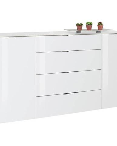 Novel PŘÍBORNÍK/KOMODA, bílá, barvy dubu, 181/100/40 cm - bílá, barvy dubu