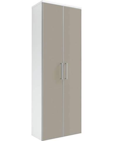 Novel ŠATNÍ SKŘÍŇ, bílá, šedohnědá, 61/170/31 cm - bílá, šedohnědá