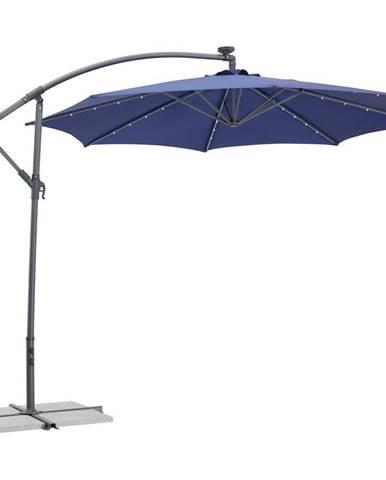 Xora ZÁVĚSNÝ SLUNEČNÍK, otočné o 360°, LED osvětlení, 300 cm - antracitová, modrá