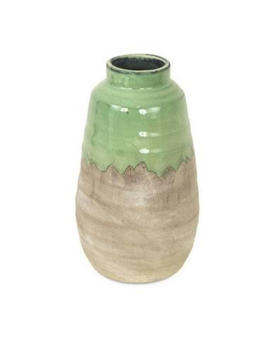 VÁZA, keramika, 42 cm - šedá, zelená
