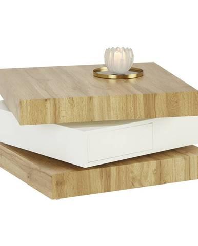 Xora KONFERENČNÍ STOLEK, bílá, barvy dubu, kompozitní dřevo, 70/70/38 cm - bílá, barvy dubu