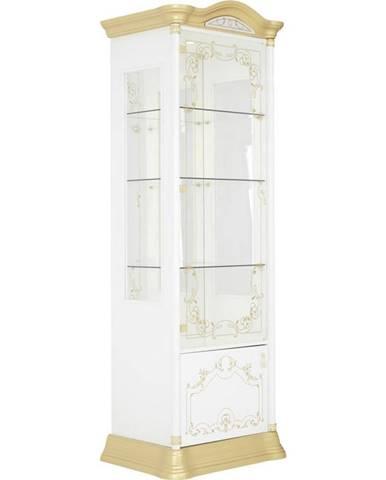 Cantus VITRÍNA, bílá, barvy zlata, 76/209/53 cm - bílá, barvy zlata