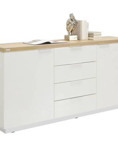 Xora KOMODA, bílá, barvy dubu, 180/88,5/43 cm - bílá, barvy dubu