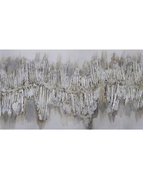 Monee Monee OLEJOMALBA, abstraktní, 60/120 cm - barvy stříbra