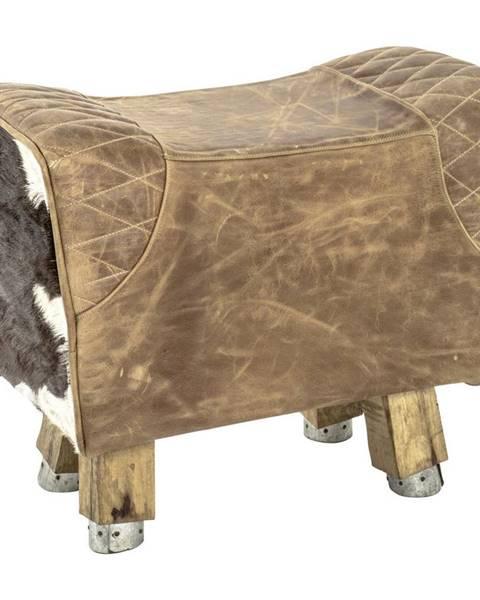 Carryhome TABURET, dřevo, textil, kůže, 59/48/31 cm - hnědá, bílá, tmavě hnědá