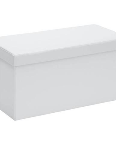 Carryhome SEDACÍ BOX, textil, kompozitní dřevo, 76/38/38 cm - bílá