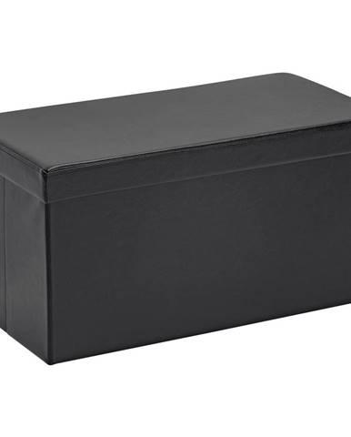 Carryhome SEDACÍ BOX, textil, kompozitní dřevo, 76/38/38 cm - černá