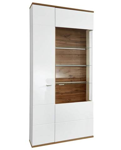 Stylife VITRÍNA, bílá, barvy dubu, 90/208/37 cm - bílá, barvy dubu