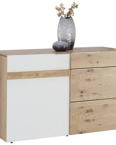 Voglauer KOMODA, divoký dub, bílá, barvy dubu, 128/82/51,7 cm - bílá, barvy dubu