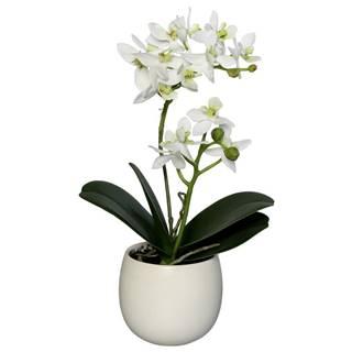 UMĚLÁ KVĚTINA orchidej 34 cm - zelená, bílá