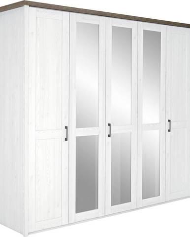 Carryhome ŠATNÍ SKŘÍŇ, bílá, barvy dubu, 235/213/61 cm - bílá, barvy dubu