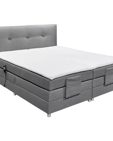 Esposa POSTEL BOXSPRING, 180/200 cm, textil, šedá - šedá