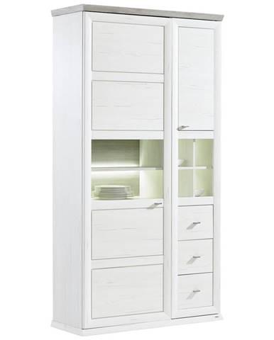 Hom`in VITRÍNA, šedá, bílá, 110/209/43 cm - šedá, bílá