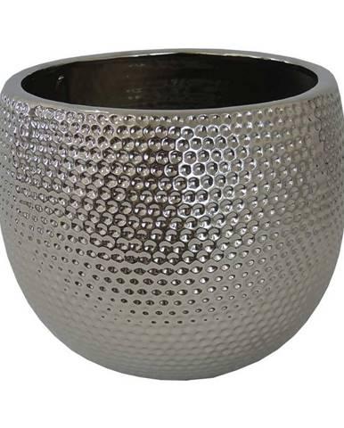 KVĚTINÁČ, keramika, 20/25/20 cm - barvy stříbra