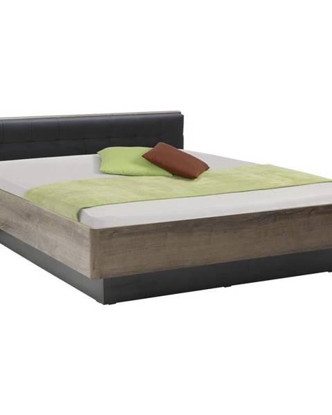 Carryhome Carryhome POSTEL, 180/200 cm, kompozitní dřevo, černá, barvy dubu - černá, barvy dubu