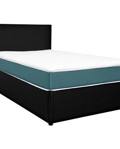 Carryhome POSTEL BOX, 160/200 cm, textil, kompozitní dřevo, černá, tyrkysová - černá, tyrkysová