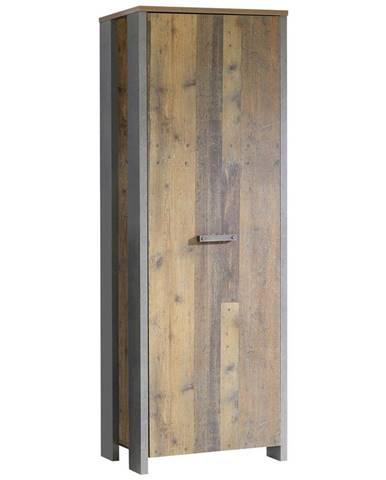 Carryhome ŠATNÍ SKŘÍŇ, hnědá, tmavě šedá, 67/201,5/41,6 cm - hnědá, tmavě šedá