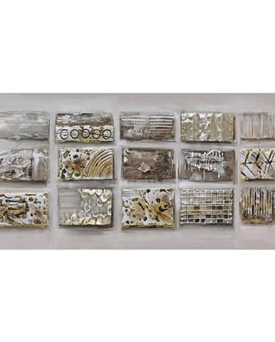 Monee OLEJOMALBA, abstraktní, 120/55 cm - hnědá, světle šedá, béžová