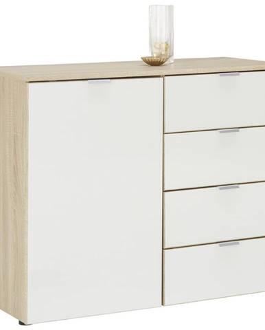 Stylife KOMODA, bílá, barvy dubu, 100/80/42 cm - bílá, barvy dubu