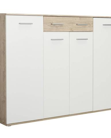 Xora BOTNÍK, bílá, barvy dubu, 160/120/35 cm - bílá, barvy dubu