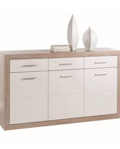 Xora KOMODA, bílá, barvy dubu, 147/89/37 cm - bílá, barvy dubu