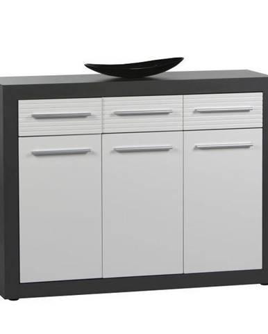 Xora PŘÍBORNÍK/KOMODA, šedá, bílá, 117/88/37 cm - šedá, bílá