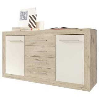 Boxxx KOMODA SIDEBOARD, bílá, barvy dubu, 168/89/46 cm - bílá, barvy dubu