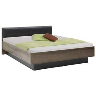 Carryhome POSTEL, 180/200 cm, kompozitní dřevo, černá, barvy dubu - černá, barvy dubu