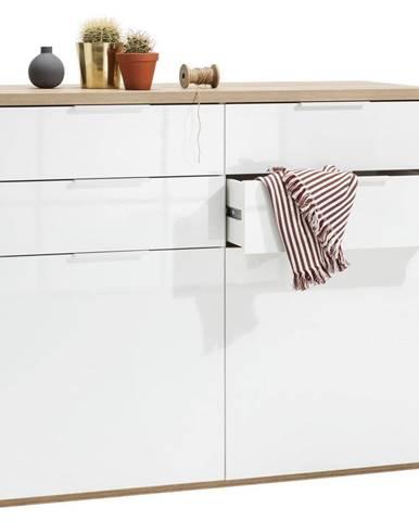 Carryhome KOMODA, bílá, barvy dubu, 120/102/50 cm - bílá, barvy dubu