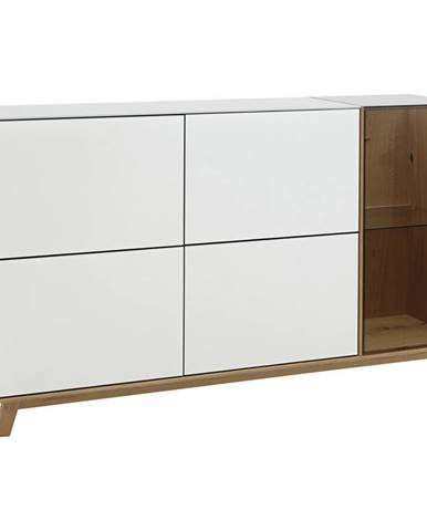Dieter Knoll PŘÍBORNÍK/KOMODA, dub, bílá, barvy dubu, 164/92/40 cm - bílá, barvy dubu