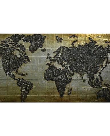 Monee OLEJOMALBA, mapa světa, 150/70 cm - černá, barvy zlata